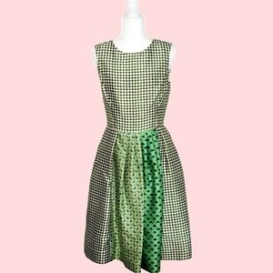 Oscar de la Renta Green A-Line Midi Cocktail Dress